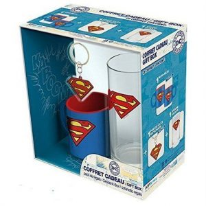 DC Comics Pack Regalo Vaso + Llavero PVC + Mini Taza Superman