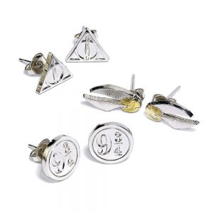 Harry Potter Pack de 3 Pendientes Snitch/Deathly Hallows/Platform 9 3/4 (plateado)