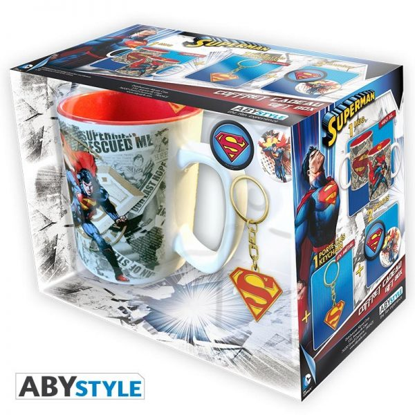 DC Comics Pack Regalo taza + Llavero + Chapas Superman
