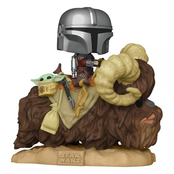 Star Wars POP! The Mandalorian on Bantha with Child in Bag 9 cm